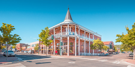 Beautiful view of the historic city center of Flagstaff on sunny day with blue sky in summer, northern Arizona, American Southwest, USA