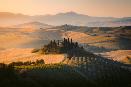 Scenic view of typical Tuscany landscape with rolling hills and harvest fields in golden morning light at sunrise, Val dOrcia, Italy