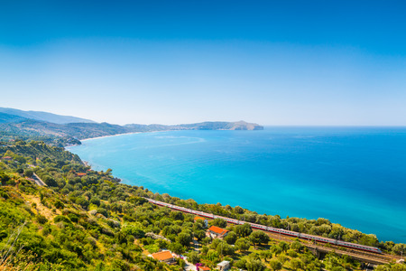Panoramic view of beautiful coastal landscape at the Cilentan Coast, province of Salerno, Campania, southern Italy Banque d'images - 119086204