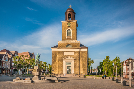 Beautiful view of Marienkirche in the old town of Husum, the capital of Nordfriesland and birthplace of German writer Theodor Storm, in Schleswig-Holstein, Germany