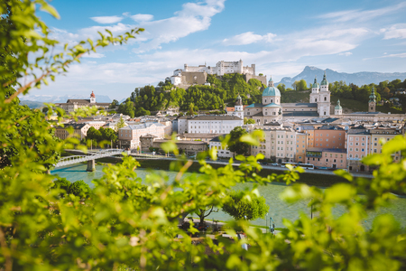 Classic panorama view of the old town of Salzburg, on a beautiful sunny day with blue sky in summer, Austria