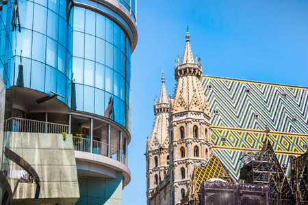 Haas Haus with St. Stephens Cathedral at Stephansplatz in Vienna, Austria Stock Photo