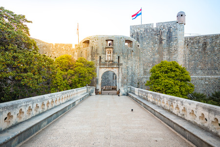 Panorama view of famous Dubrovnik Pile Gate (Old Town Gate) in beautiful morning light at sunrise, Dalmatia, Croatia Stock Photo
