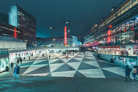 STOCKHOLM, SWEDEN - NOVEMBER 11, 2017: Panoramic view of famous Sergels Torg square at night, central Stockholm, Sweden, Scandinavia