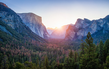 Panoramic view of famous Yosemite Valley Tunnel View in beautiful golden morning light at sunrise in summer, Yosemite National Park, Mariposa County, California, USA