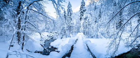 Panoramic view of scenic winter with wooden bridge leading over river bed covered in deep snow on a beautiful cold sunny day