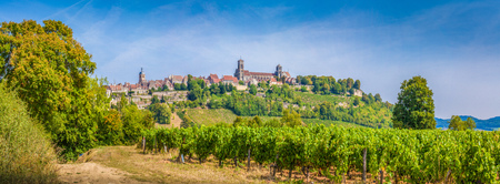 Panoramic view of the historic town of Vezelay with famous Abbaye Sainte-Marie-Madeleine de Vezelay), on top of a hill, Yonne department, Burgundy, France