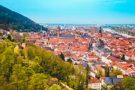 Panoramic view of the old town of Heidelberg on a beautiful sunny day with blue sky and clouds in summer, Baden-Wuerttemberg, Germany