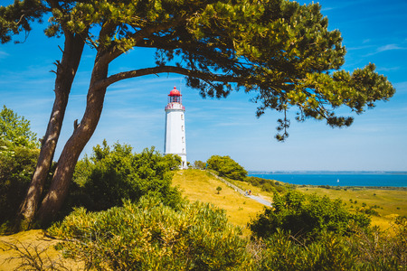 Classic view of famous Lighthouse Dornbusch on the beautiful island Hiddensee with blooming flowers in summer, Baltic Sea, Mecklenburg-Vorpommern, Germany Stock Photo - 119088038