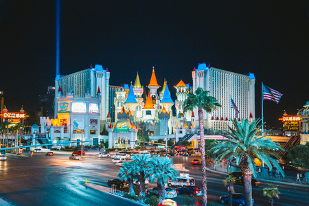 Colorful Downtown Las Vegas with world famous Strip and Excalibur hotel and casino complex illuminated beautifully at night, Nevada, USA