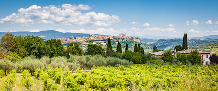Beautiful view scenic Tuscany countryside with of the old town of Orvieto in the background on a sunny day, Umbria, Italy