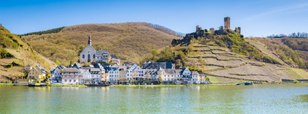 Beautiful view of the historic town of Beilstein with Mosel river in scenic evening light in springtime, Rheinland-Pfalz, Germany
