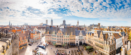 Aerial panoramic view of the historic city of Ghent with famous medieval Gravensteen Castle on a beautiful sunny day with blue sky and clouds in summer, province of East Flanders, Belgium Sajtókép
