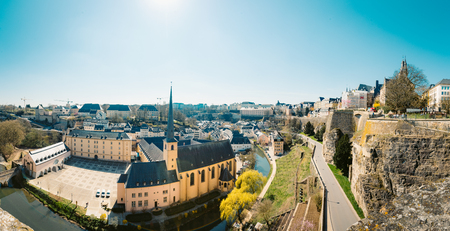 Panoramic view of the famous old town on a beautiful sunny day with blue sky in springtime, Luxembourg Sajtókép