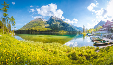 Beautiful view of scenic Lake Hintersee on a beautiful sunny day with blue sky in summer, Bavaria, Germany