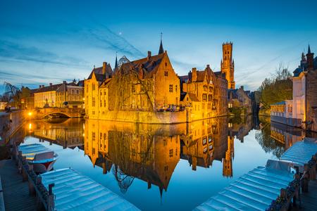 Historic city center of Brugge at night, Flanders, Belgium