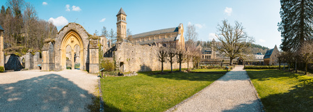 Beautiful view of famous Abbaye Notre-Dame dOrval, a Cistercian monastery founded in 1132, Gaume region, Belgium