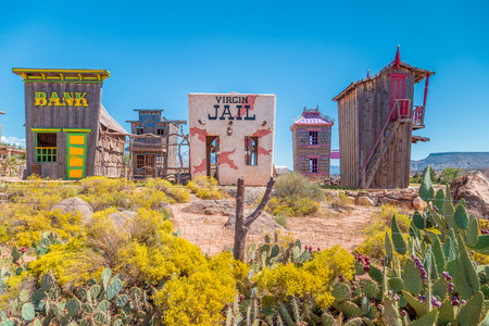 Panoramic view of beautiful abandoned gold rush town in the desert of the American Wild West on a beautiful sunny day with blue sky in summer