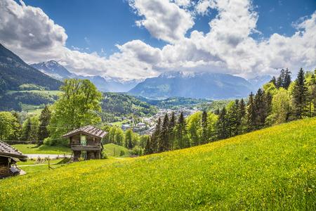 Vista panoramica dell'idilliaco scenario di montagna delle Alpi con tradizionale chalet di montagna in legno e prati fioriti in una bella giornata di sole con cielo azzurro e nuvole in primavera