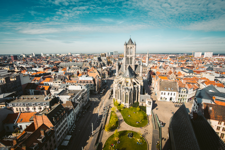 Aerial panoramic view of the historic city of Ghent on a beautiful sunny day with blue sky and clouds in summer, province of East Flanders, Belgium