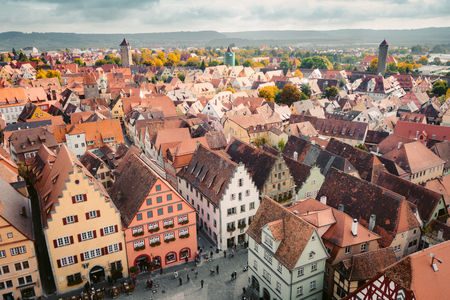 Aerial view of the medieval town of Rothenburg ob der Tauber on a beautiful sunny day with blue sky and clouds in summer, Bavaria, Germany