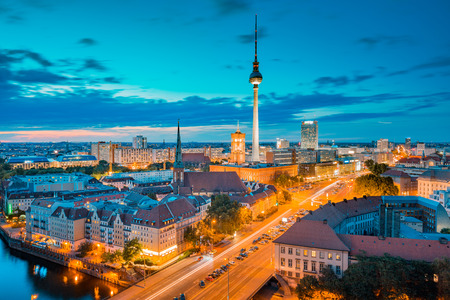 Classic view of Berlin skyline with famous TV tower and Spree in beautiful golden evening light at sunset, central Berlin Mitte, Germany Stock Photo