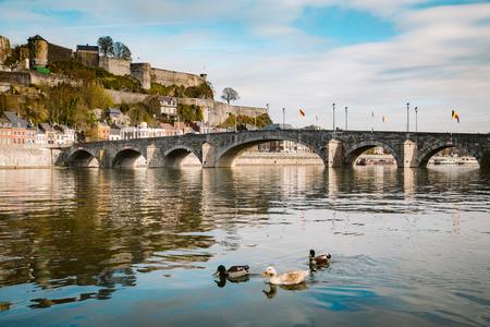 Klasyczny widok na zabytkowe miasto Namur ze słynnym Starym Mostem przekraczającym malowniczą rzekę Mozę latem, prowincja Namur, Walonia, Belgia