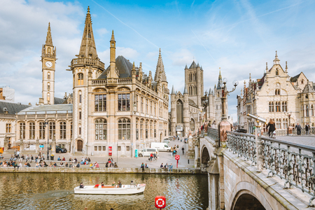 Panoramic view of the historic city center of Ghent with Leie river on a sunny day, East Flanders region, Belgium 写真素材