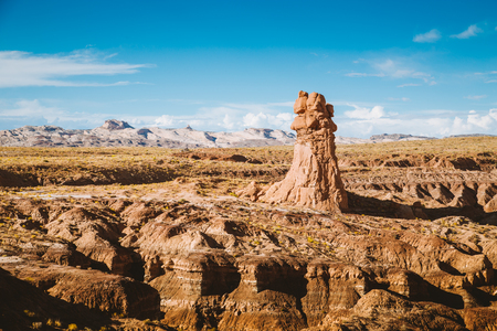 Panoramic view of beautiful desert landscape with hoodoos sandstone formations in Goblin Valley State Park in summer, Utah, USA Stock Photo - 121796044