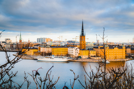 Classic view of Stockholm city center with famous Riddarholmen in Gamla Stan in beautiful golden morning light, Sodermalm, central Stockholm, Sweden Stock Photo