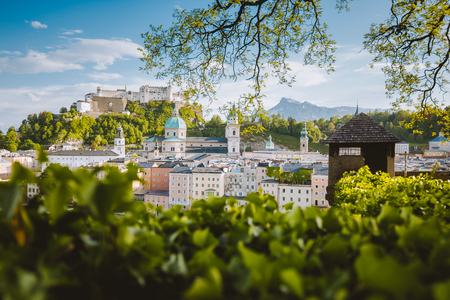 Classic panorama view of the old town of Salzburg, a UNESCO World Heritage Site since 1997, on a beautiful sunny day with blue sky in summer, Austria