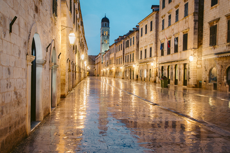 Beautiful twilight view of the historic town of Dubrovnik with famous Stradun main street at dawn, Dalmatia, Croatia Stok Fotoğraf