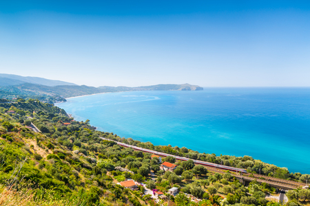 Panoramic view of beautiful coastal landscape at the Cilentan Coast, province of Salerno, Campania, southern Italy Banque d'images - 121796215