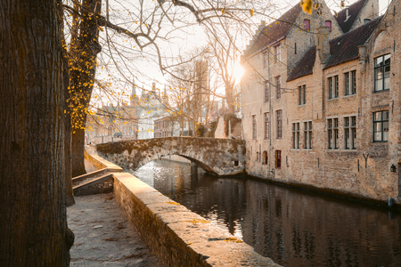 Classic panoramic view of the historic city center of Brugge, often referred to as The Venice of the North, province of West Flanders, Belgium Stock Photo