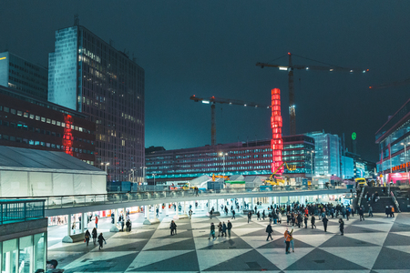 Panoramic view of famous Sergels Torg square at night, central Stockholm, Sweden, Scandinavia Stok Fotoğraf