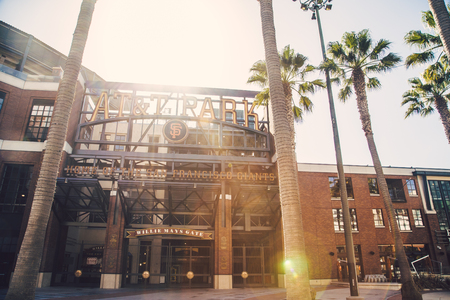 Panorama view of historic AT&T Park baseball park, home of the San Francisco Giants professional baseball franchise, on a beautiful sunny day with blue sky in summer, San Francisco, California, USA