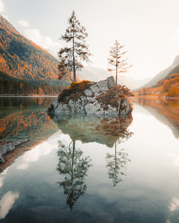 Beautiful view of trees on a rock island in idyllic scenery at charming Lake Hintersee at sunset, Berchtesgaden, Bavaria, Germany