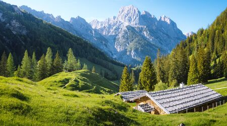 Idyllic landscape in the Alps with traditional mountain chalets and fresh green mountain pastures in summer Stock Photo