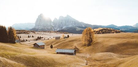 Beautiful view of traditional wooden mountain chalets on scenic Alpe di Siusi with famous Langkofel mountain peaks in the background in golden morning light at sunrise, Dolomites, South Tyrol, Italy 版權商用圖片