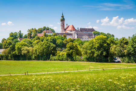 Beautiful view of famous Andechs Abbey on top of a hill in summer, district of Starnberg, Upper Bavaria, Germany