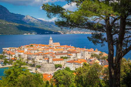Panoramic aerial view of the historic town of Dubrovnik, one of the most famous tourist destinations in the Mediterranean Sea, at sunrise, Dalmatia, Croatia