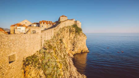 Panoramic aerial view of the historic town of Dubrovnik, one of the most famous tourist destinations in the Mediterranean Sea, from Srt mountain on a beautiful sunny day in summer, Dalmatia, Croatia 新聞圖片