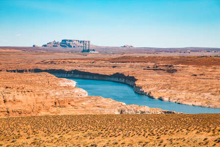 Panoramic view of famous Lake Powell at Glen Canyon National Recreation Area on a beautiful sunny day, Arizona, USA