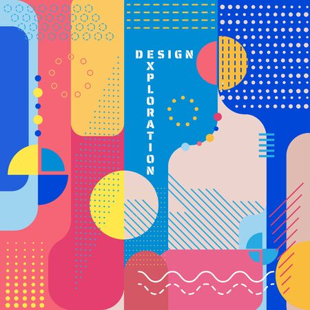 Exploration design abstract art modern style colorful banner. vector illustration