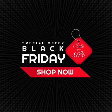 Black friday sale special offer poster retro style and halfetone radial design. vector illustration