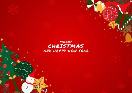 Christmas red background gift corner design modern style snowfall with space. vector illustration Stock Illustratie