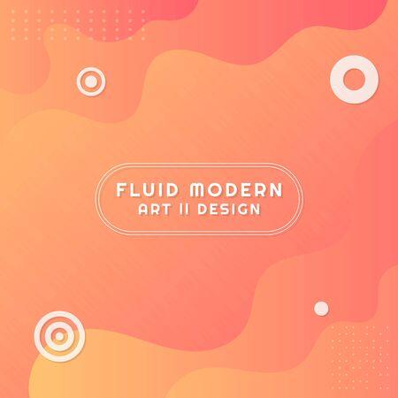 Fluid modern art design wave shape background colorful bright style. vector illustration