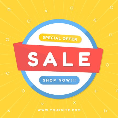 Sale banner modern art design geometric style colorful bright for announce. vector illustration.