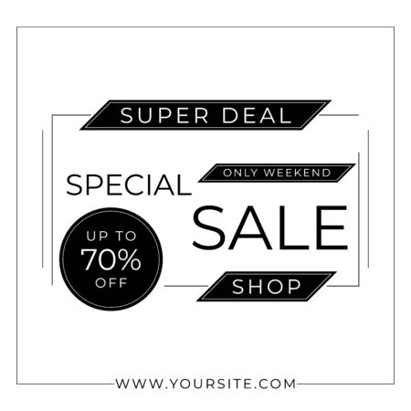 Minimal sale banner monochrome style art simple design with space. vector illustration.