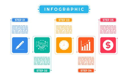Infographic colorful art modern design for business process work step by step. vector illustration.